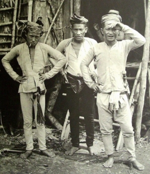 Three indigenous tribal men from the Sulu Archipelago in the 1900s.